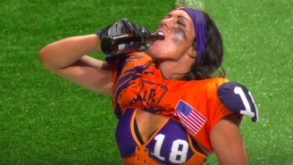 This Legend Football League Player's God Awful Celebratory Beer Chug Should Result In Suspension