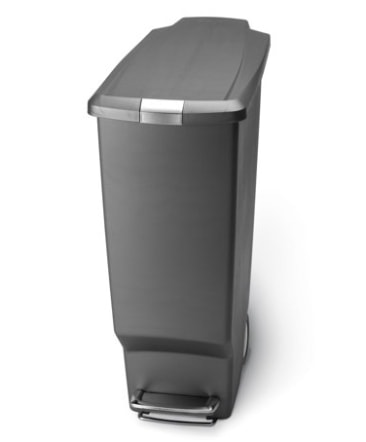 simplehuman 40 litre / 10.6 gallon slim step trash can grey plastic