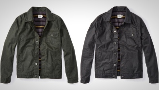 This Waxed Trucker Jacket With A Striped Flannel Blanket Lining Is Tough And Timeless