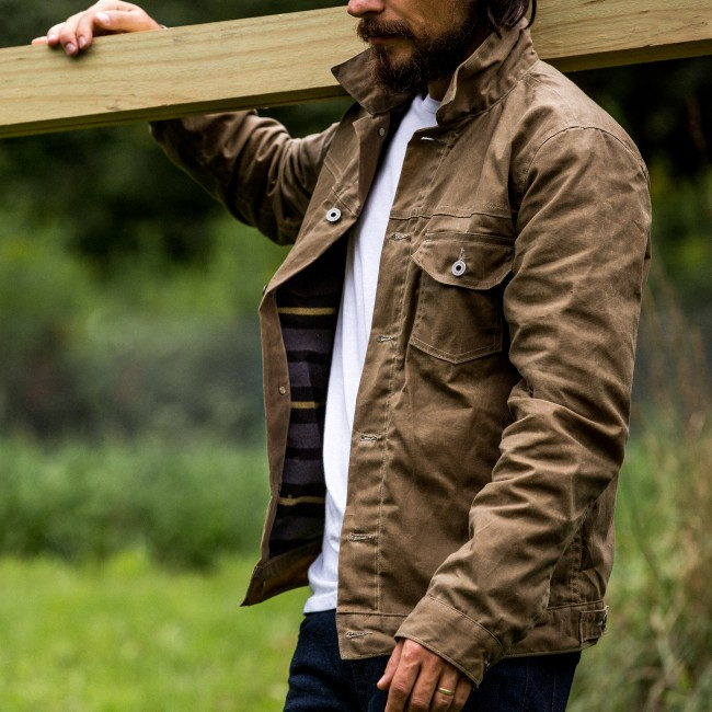 Flint and Tinder Waxed Trucker Jacket with Fleece Blanket Lining