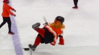 The Flyers' New Mascot Gritty Had A Debut That Included Wiping Out And Blasting Someone With A T-Shirt Cannon