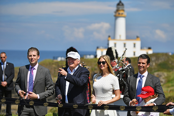 US presidential nominee Donald Trump arrives by helicopter to Turnberry hotel and gold resort on June 23, 2016 in Turnberry,Scotland. Mr Trump arrived to officially open his Trump Turnberry resort which has undergone an eight month refurbishment as part of an investment thought to be worth in the region of two hundred million pounds.