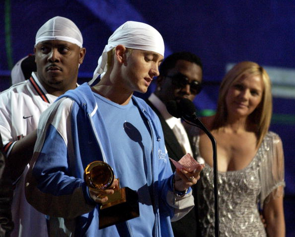 """Eminem, Sean """"P. Diddy"""" Combs and Kim Cattrall (Photo by L. Cohen/WireImage)"""