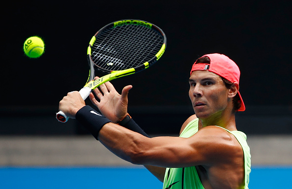 Rafael Nadal of Spain plays a shot during a practice session ahead of the 2018 Australian Open at Melbourne Park on January 13, 2018 in Melbourne, Australia.  (Photo by Scott Barbour/Getty Images)