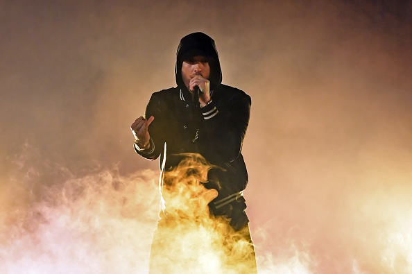 INGLEWOOD, CA - MARCH 11:  Eminem performs onstage during the 2018 iHeartRadio Music Awards which broadcasted live on TBS, TNT, and truTV at The Forum on March 11, 2018 in Inglewood, California.  (Photo by Kevin Winter/Getty Images for iHeartMedia)