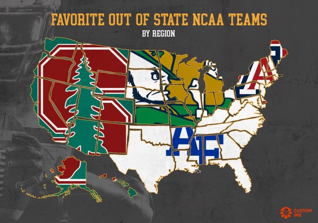 Maps Favorite Out State Football Teams