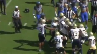Duke And Georgia Tech Players Get Heated And Brawl After Kickoff Return