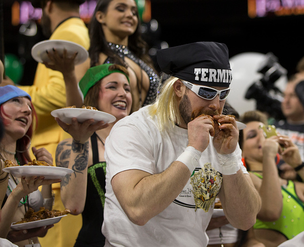 PHILADELPHIA, PA - FEBRUARY 5: Termite eats chicken wings during Wing Bowl 24 on February 5, 2016 at the Wells Fargo Center, Pennsylvania. (Photo by Mitchell Leff/Getty Images)