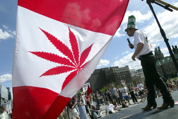 OTTAWA, ON - JUNE 5:  Marijuana activist Chris Lawson makes a speech on stage during a rally in support of legalizing marijuana on June 5, 2004 on Parliament Hill in Ottawa, Canada. The Supreme Court of Canada recently upheld a decision to keep marijuana as a banned substance.  (Photo by Donald Weber/Getty Images)
