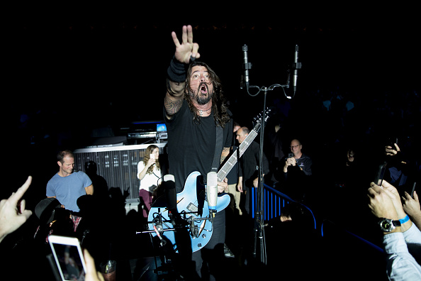 WASHINGTON, DC - OCTOBER 11: (EDITORS NOTE: Images not to be used for third party commercial promotional use.) Foo Fighters perform on stage during the iHeartRadio Foo FAnthem Show at The Anthem on October 11 2017 in Washington, DC.  (Photo by Tasos Katopodis/Getty Images for iHeartRadio)