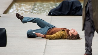 New BTS Footage, Pics Show Joaquin Phoenix Take A Header, Stalk Zazie Beetz While Filming 'Joker'