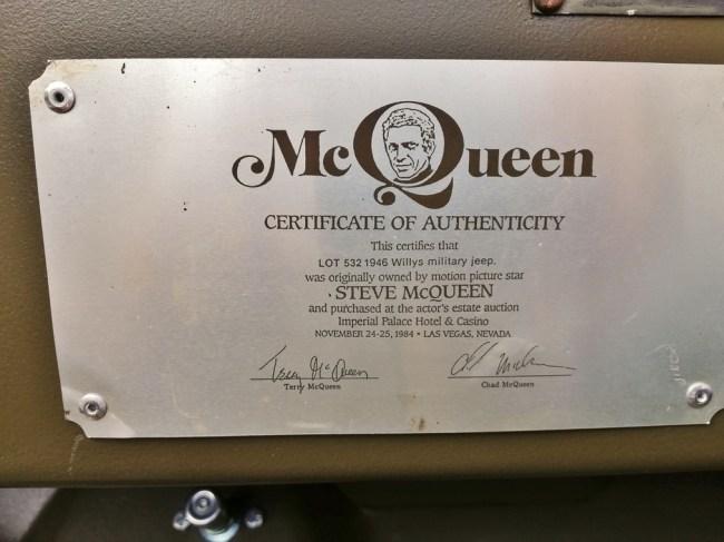 Steve McQueen 1945 Willys Jeep MB