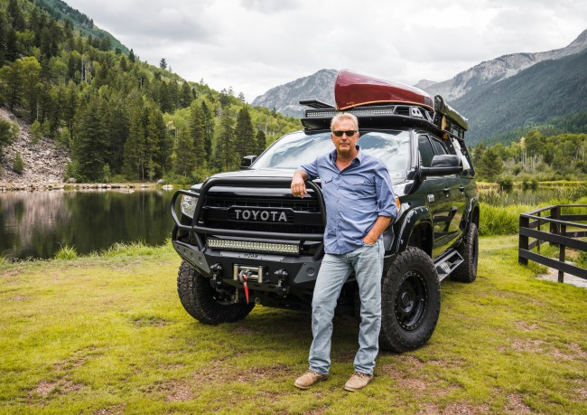 Toyota teamed up with Academy Award-winning actor and director Kevin Costner to build the ultimate outdoor adventure Tundra. Based on a Platinum-trim truck, Costner's Tundra features fully fabricated steel bumpers front and rear, heavy duty winches, custom auxiliary lighting, 35-inch tires, and a 4.5-inch lift using Fox coilovers. This Tundra has already been tested in the field, accompanying its owner to on-location filming and camping excursions.