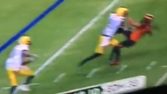 Trash Talking CFL Cornerback Gets Trucked Into Oblivion A Few Seconds After Taunting Wide Receiver At Line Of Scrimmage