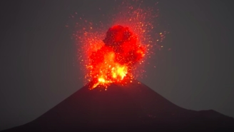 The Iconic Krakatoa Volcano Exploded In The Night And Put On A Mesmerizing Light Show