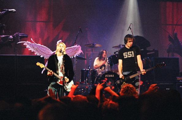 Kurt Cobain, Dave Grohl and Krist Novoselic of Nirvana (Photo by Jeff Kravitz/FilmMagic, Inc)