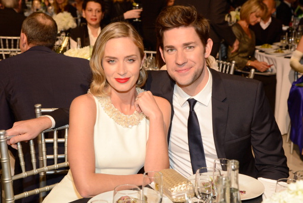 SANTA MONICA, CA - JANUARY 10:  Emily Blunt and John Krasinski during the 18th Annual Critics' Choice Movie Awards at The Barker Hanger on January 10, 2013 in Santa Monica, California.  (Photo by Kevin Mazur/WireImage)