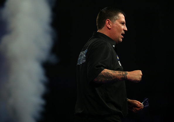 LONDON, ENGLAND - JANUARY 02: Gary Anderson of Scotland celebrates winning his semi-final match against Jelle Klaasen of Holland during the 2016 William Hill PDC World Darts Championships on Day Four at Alexandra Palace on January 02, 2016 in London, England. (Photo by Charlie Crowhurst/Getty Images)