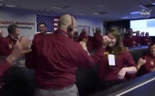 NASA InSight Probe landing viral handshake celebration