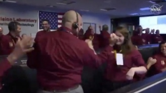 A Pair Of NASA Scientists Threw Down An NBA-Worthy Handshake After Landing A Probe On Mars