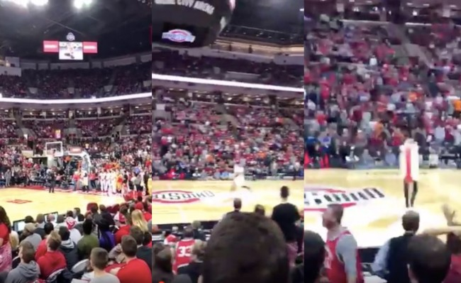 OSU fan in hot dog costume hits half court shot
