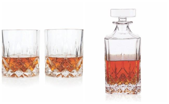 Viski Admiral Tumblers Decanter Faceted Crystal Set