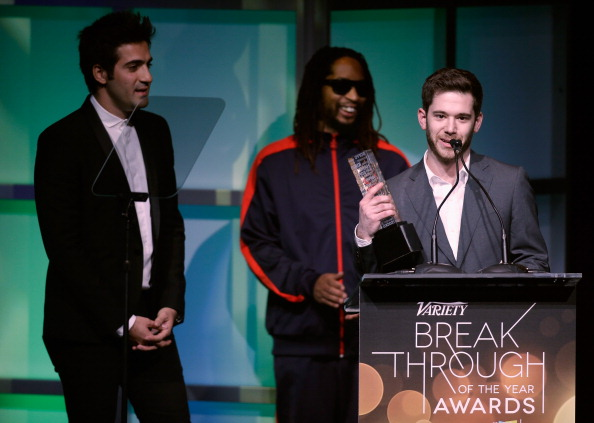 LAS VEGAS, NV - JANUARY 09:  Honorees Rus Yusupov (L) and Colin Kroll (R) accept the Breakthrough Award for Emerging Technology from rapper Lil Jon (C) onstage at the Variety Breakthrough of the Year Awards during the 2014 International CES at The Las Vegas Hotel & Casino on January 9, 2014 in Las Vegas, Nevada.  (Photo by Isaac Brekken/Getty Images for Variety)
