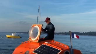 Crazy Old French Adventurer Is Making 3-Month Transatlantic Crossing In A Barrel Using Only Ocean Currents
