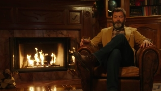 Watching Nick Offerman Sip Whiskey By A Fireplace For 45 Straight Minutes Is My Favorite Holiday Tradition