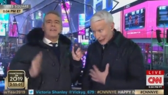 NYE: Anderson Cooper Struggles Mightily With Tequila Shots, Gets Drunk, Tells The World His Mom Hooked Up With Marlon Brando