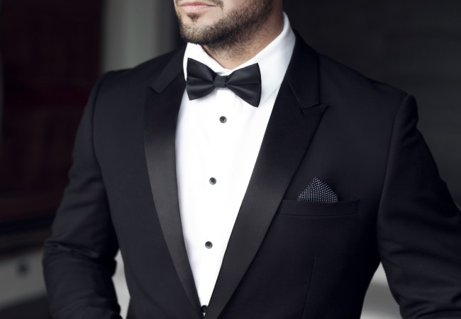 Man in tuxedo and bow tie