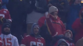Idiot Chiefs Fan Gets Busted On National TV Throwing Snowball On The Field During Playoff Game