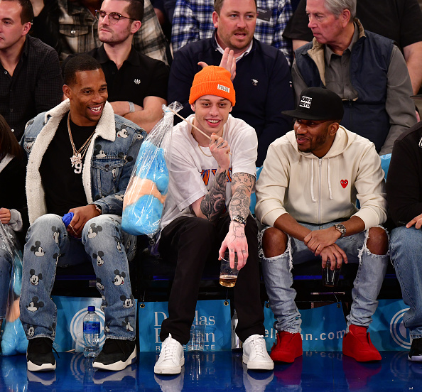 NEW YORK, NY - JANUARY 13:  Victor Cruz, Pete Davidson and Chris Redd attend Philadelphia 76ers v New York Knicks game at Madison Square Garden on January 13, 2019 in New York City.  (Photo by James Devaney/Getty Images)
