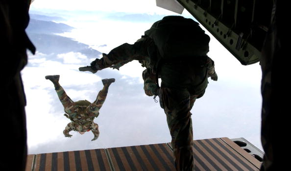 IN FLIGHT - UNDATED PHOTO:  Members of the Headquarters Support Company 3rd Bn, 7th Special Forces Group (Airborne) at Ft. Bragg, N.C., participate in a High Altitude/Low Opening jump from a Chilean C-255 aircraft.  More than 30 paratroopers from nine different countries participated in the multinational airdrop during Cabanas 2002 Chile. Cabanas 2002 Chile is a multinational combined readiness training exercise centered around peacekeeping operational tasks. This exercise provides an opportunity for over 1,300 military and civilian personnel from Argentina, Bolivia, Brazil, Chile, Colombia, Ecuador, Paraguay, Peru, Uruguay, and the United States to increase their state of readiness in combined multinational peacekeeping operations and a forum to encourage human rights. (Photo by Staff Sgt. Cherie A. Thurlby/USAF/Getty Images)