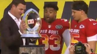 Jason Witten Breaks The Pro Bowl Trophy While Handing It To Jamal Adams And  Patrick Mahomes