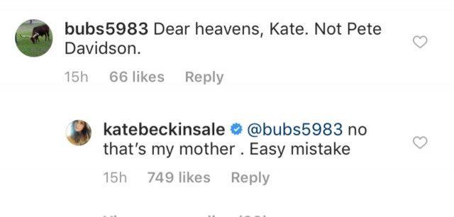 kate beckinsale pete davidson instagram comment
