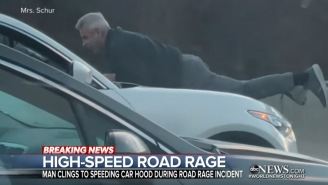 Man Clings To The Hood Of SUV Going 70 MPH In One Of The Wildest Road Rage Incidents You'll Ever See