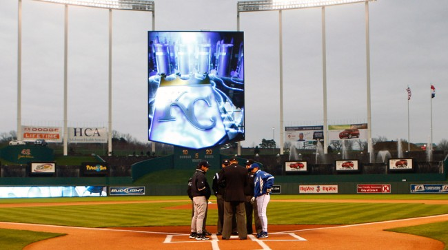 news helicopter busts someone playing mario kart on royals' jumbotron