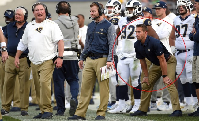 rams' strength coach ted rath keeps sean mcvay safe on the sidelines