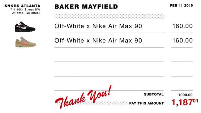 Baker Mayfield Went Sneaker Shopping With Complex Spent 1200 Receipt