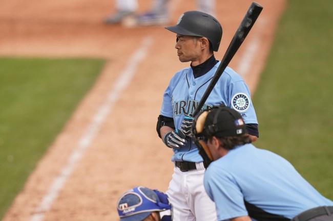 PEORIA, AZ - FEBRUARY 26:  Ichiro Suzuki #51 of the Seattle Mariners is seen during the spring training game against the Texas Rangers on February 26, 2019 in Peoria, Arizona