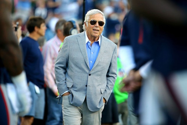 FOXBORO, MA - AUGUST 13: New England Patriots owner Robert Kraft looks on from the sideline during a preseason game against the Green Bay Packers at Gillette Stadium on August 13, 2015 in Foxboro, Massachusetts. (Photo by Maddie Meyer/Getty Images)