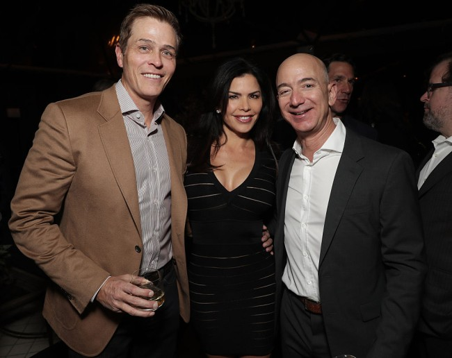 "LOS ANGELES, CA - DECEMBER 03: WME's Patrick Whitesell, Lauren Sanchez and Amazon CEO Jeff Bezos attend Jeff Bezos and Matt Damon's ""Manchester By The Sea"" Holiday Party on December 3, 2016 in Los Angeles, California. (Photo by Todd Williamson/Getty Images for Amazon Studios)"