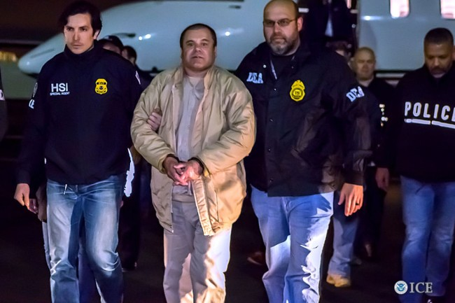 NEW YORK, NY - JANUARY 19, 2017: In this handout provided by U.S. Immigration and Customs Enforcement, Federal authorities announced Friday that Joaquin Archivaldo Guzman Loera, known by various aliases including, âEl Chapo,â? will face charges filed in Brooklyn, New York, following his extradition to the United States from Mexico. Guzman Loera arrived in New York under heavy escort by special agents with U.S. Immigration and Customs Enforcement (ICE) Homeland Security Investigations and the Drug Enforcement Administration (DEA) and other authorities. (Photo by Ted Psahos/U.S. Immigration and Customs Enforcement via Getty Images)