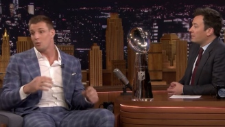 Gronk Talks About Getting Hit In The Head By A Beer At The Super Bowl Parade And Shows Off His Scar