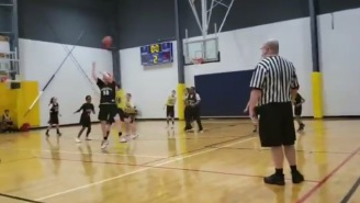 The Look On The Face Of This Referee When Kid Hits A 30-Foot No-Look Shot Needs To Be A Meme Immediately