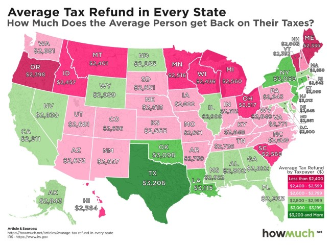 Map America Shows The Average Tax Refund In Every State