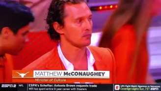'Minister Of Culture' Matthew McConaughey Was Back On The Texas Bench, And In The Team Huddle!