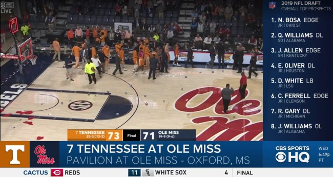 Ole Miss Fans Shower Court With Trash After No-Call Against Tennessee