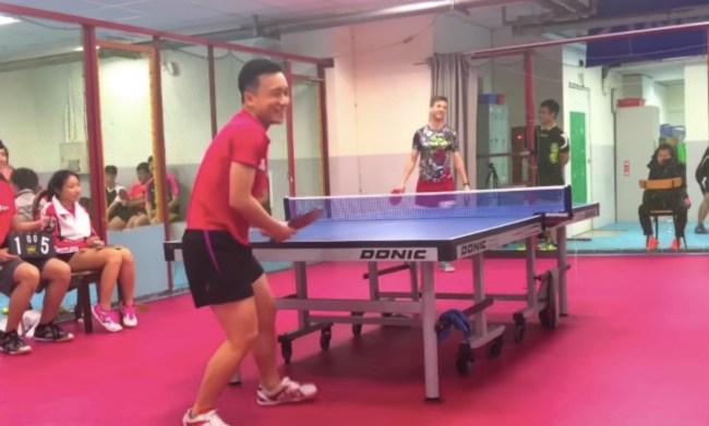 ping-pong trick shot